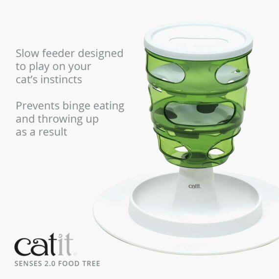 The Food Tree is a slow feeder designed to play on your cat's instincts