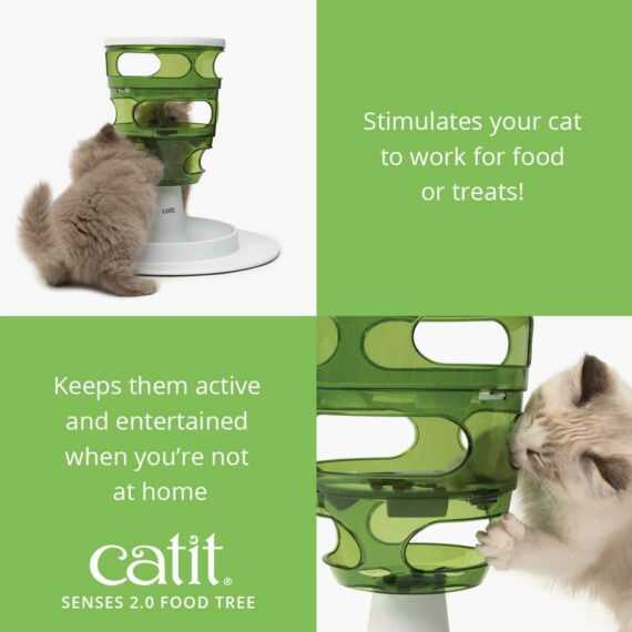 The Food Tree stimulates your cat to work for food or treats!