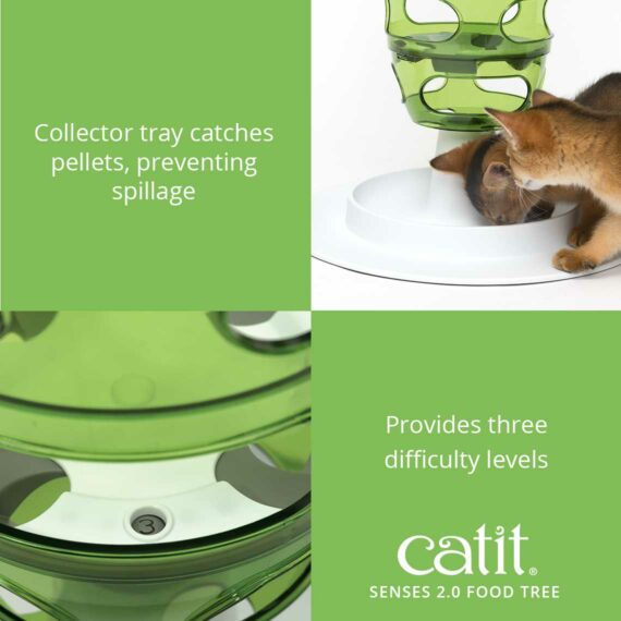 The Food tree has a collector tray which catches pellets, preventing spillage
