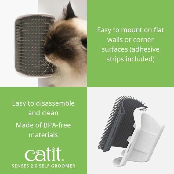 The Self Groomer is easy to mount on flat walls or corner surfaces (adhesive strips included)