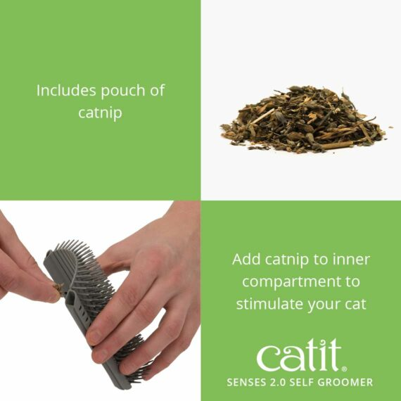 The Self Groomer includes a pouch of catnip