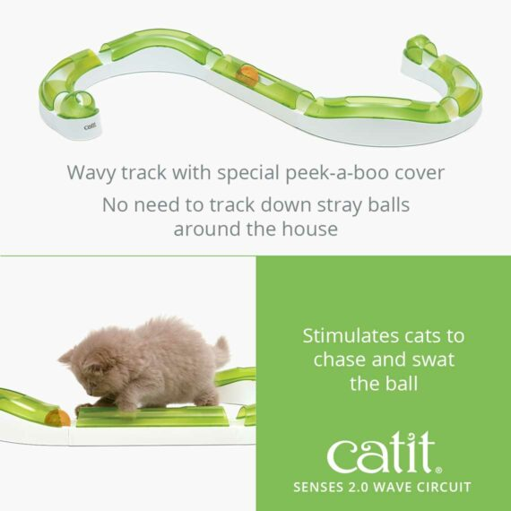 Senses 2.0 Wave Circuit - Wavy track with special peek-a-boo cover. No need to track down stray balls around the house - Stimulates cats to chase and swat the ball