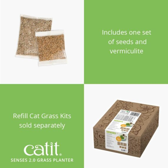 The Grass Planter includes one set of seeds and vermiculite