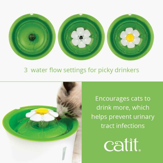 The Flower Fountain encourages cats to drink more, which helps prevent urinary tract infection