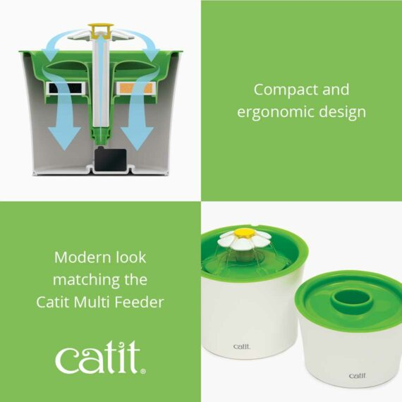 The Flower Fountain has a modern look matching the Catit Multi Feeder