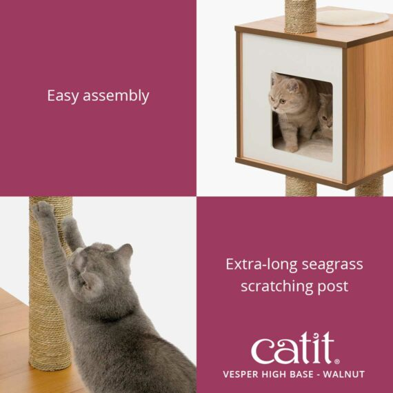 Catit Vesper High Base is easy to assemble and has an extra-long seagrass scratching post