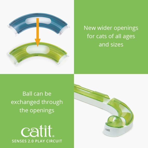 Senses 2.0 Play Circuit has new wider openings for cats of all ages and sizes and the ball can be exchanged through the openings