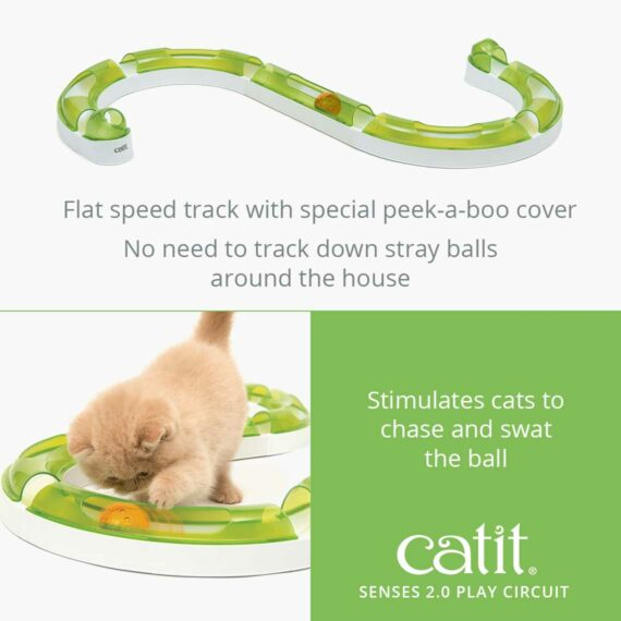 Senses 2.0 Play Circuit is a flat speed track with special peek-a-boo cover that stimulates cats to chase and swat the ball