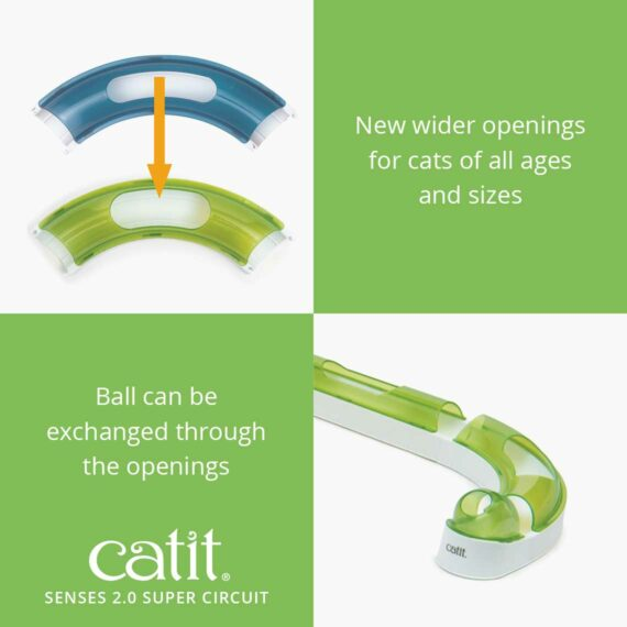 Senses 2.0 Super Circuit has new wider openings for cats of all ages and sizes, the ball can be exchanged through the openings