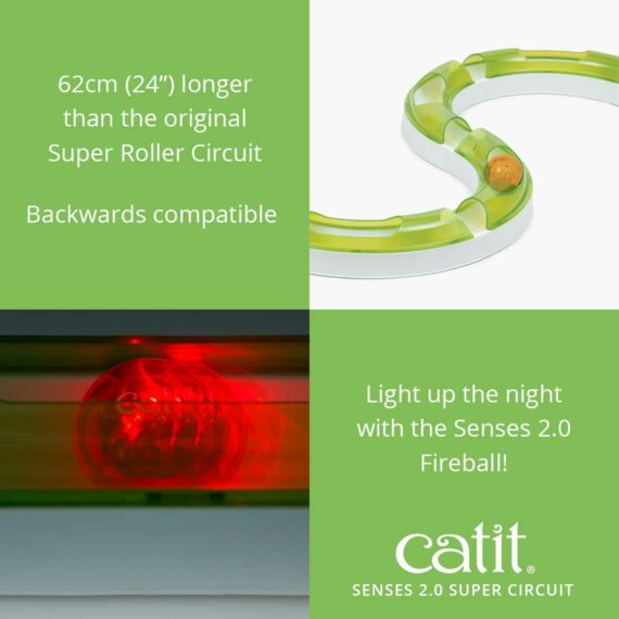 Senses 2.0 Super Circuit is 62cm (24_) longer than the original and is backwards compatible, you can use the Senses 2.0 Fireball to light up the night