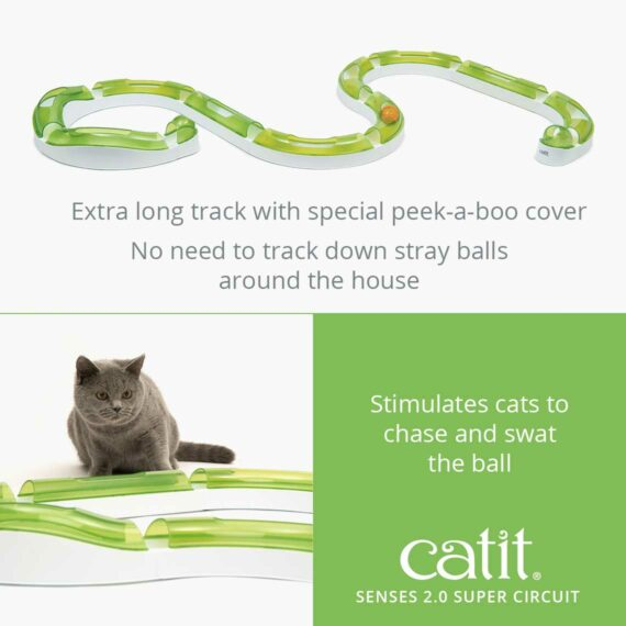 Senses 2.0 Super Circuit is an extra long track with special peek-a-boo cover that stimulates your cats to chase and swat the ball