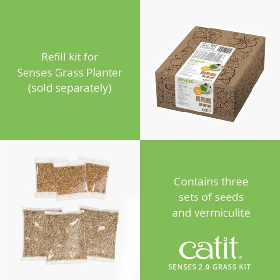 The Cat Grass Kit contains three sets of seeds and vermiculite