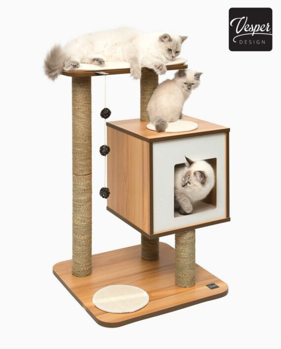 Product image of the vesper walnut base with 3 white cats on it