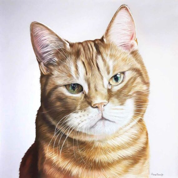 Painting of a ginger cat