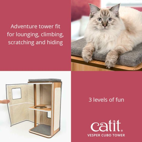 Catit Vesper Cubo Tower is an adventure tower fit for lounging, climbing, scratching and hiding with 3 levels of fun