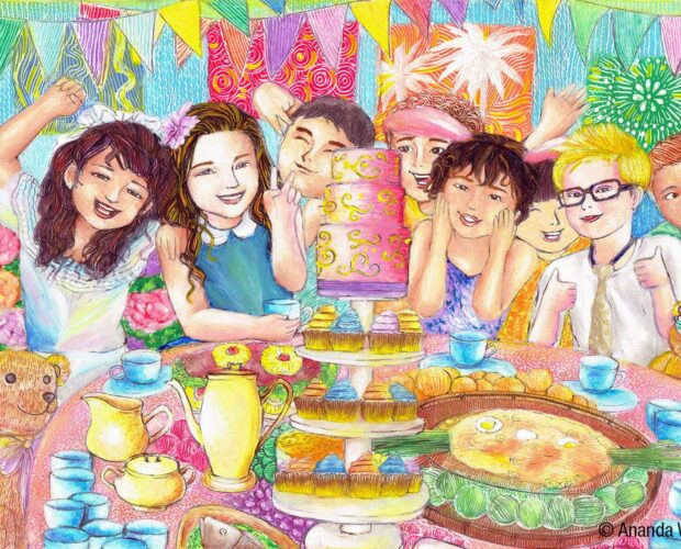 Painting of a birthday party