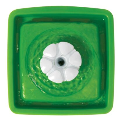 Birdseye view of Catit mini flower fountain with flower