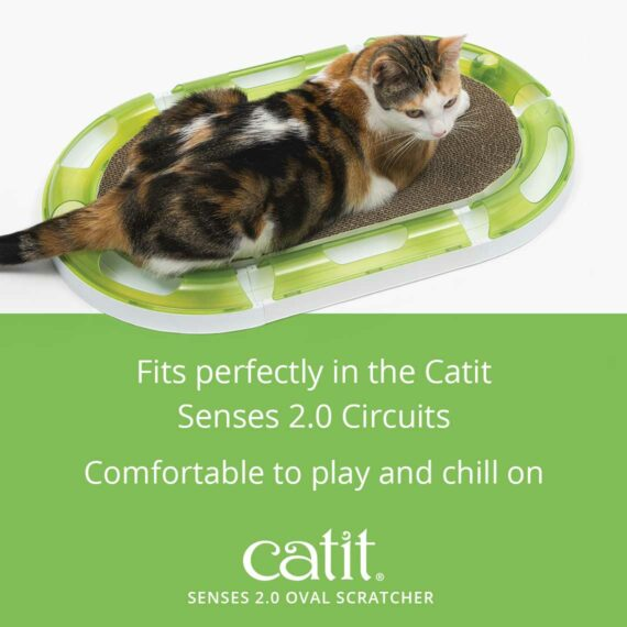The Oval Scratcher fits perfectly in the Catit Senses 2.0 Circuits