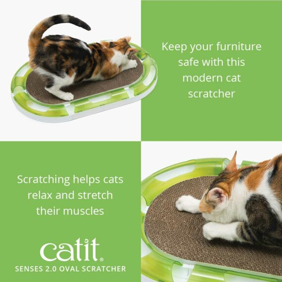 The Oval Scratcher keeps your furniture safe with this modern cat scratcher