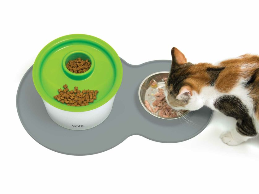 Catit Grey Peanut Placemat with Multi Feeder on top
