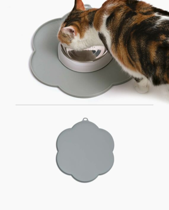 Cat eating from Feeding Dish placed on top of Flower Placemat