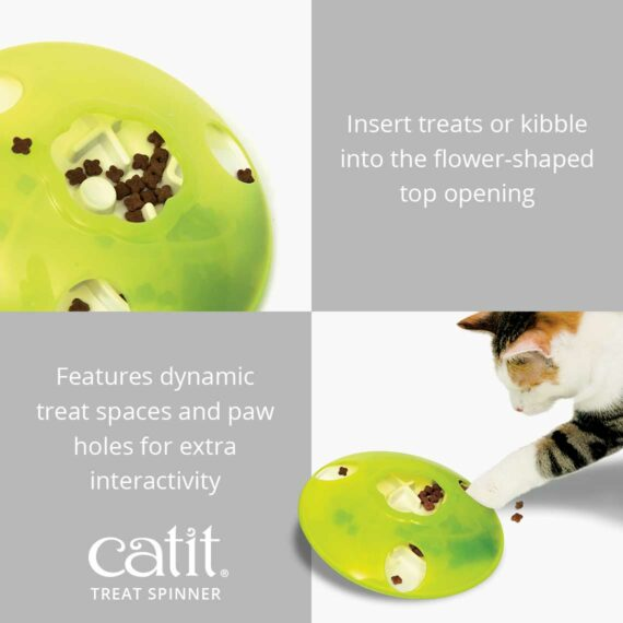 Catit Treat Spinner – Insert treats or kibble into the flower-shaped top opening. It features dynamic treat spaces and paw holes for extra interactivity