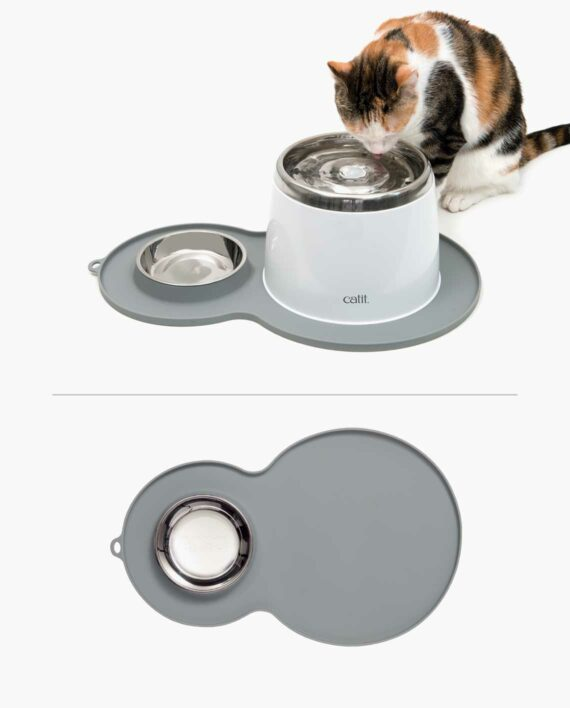 Catit Peanut Placemat shown with and without Catit Stainless Steel Fountain