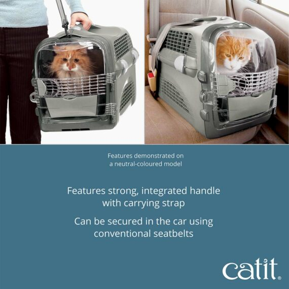 The Catit Cabrio features strong, integrated handle with carrying strap
