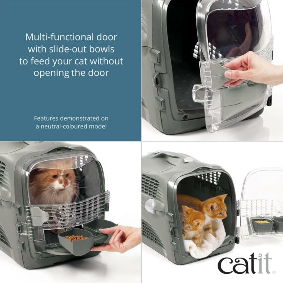 Catit Cabrio has a multi-functional door with slide-out bowls to feed your cat without opening the door