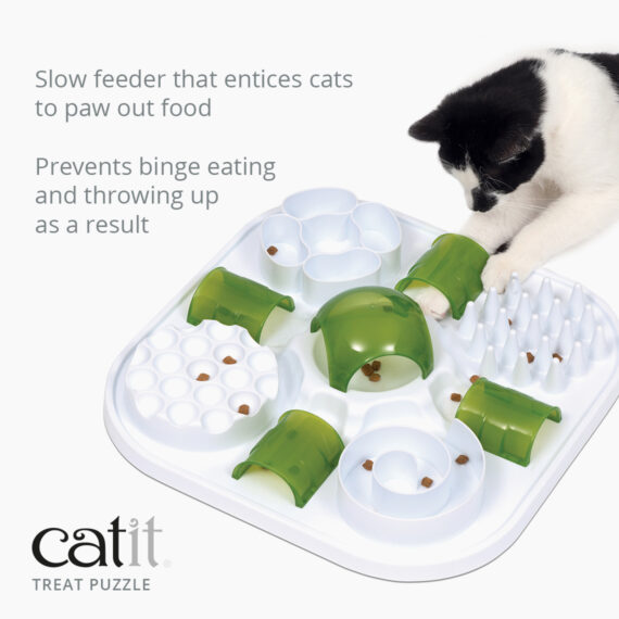 Catit Treat Puzzle is a slow feeder that entices cats to paw out food and prevents binge eating