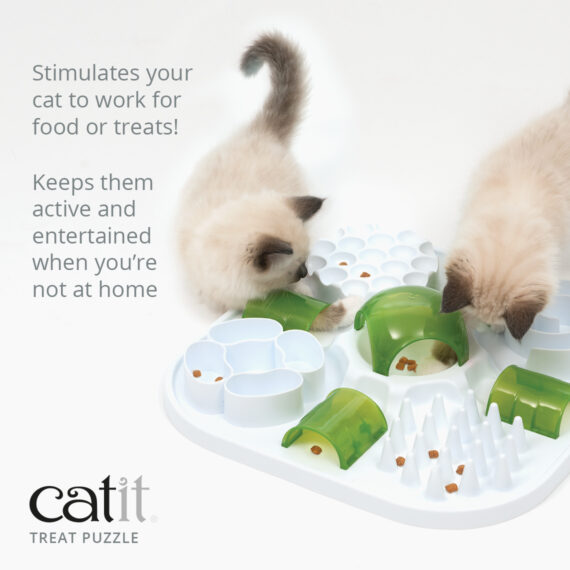 Catit Treat Puzzle stimulates you cat to work for food or treats and keeps them active and entertained when you're not at home