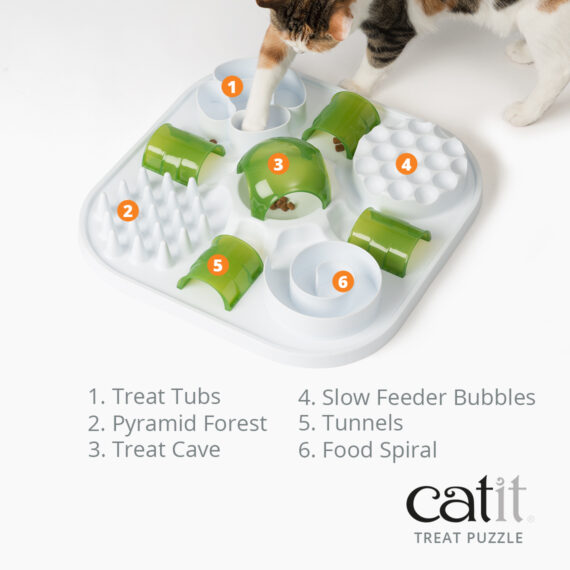 Catit Treat Puzzle has treat tubs, a pyramid forest, a treat cave, slow feeder bubbles, tunnels and a food spiral