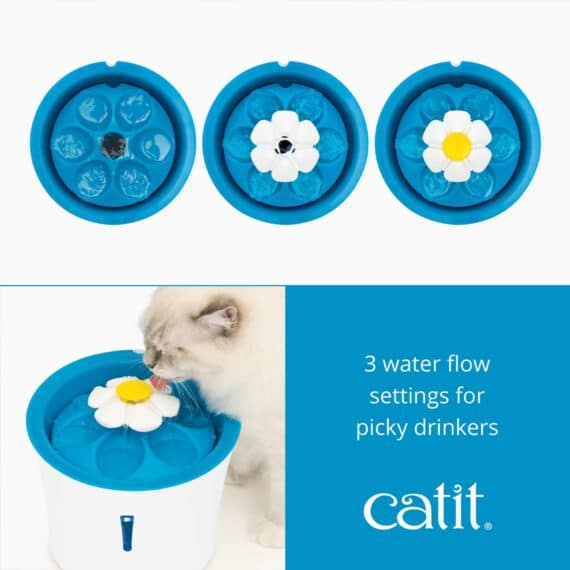 The LED Flower Fountain has 3 water flow settings for picky drinkers