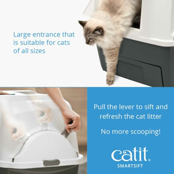 Pull the lever of the Smartsift to sift and refresh the cat litter, no more scooping!