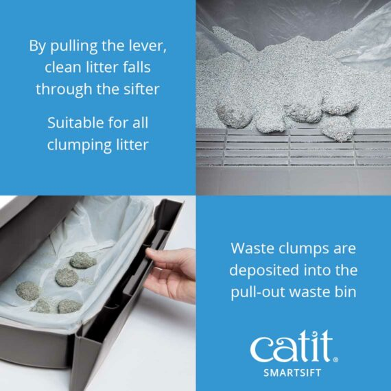 By pulling the lever of the Smartsift clean the litter falls through the sifter