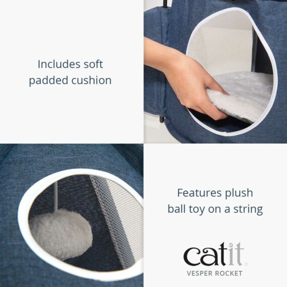 Catit Vesper Rocket includes a soft padded cushion and features a plush ball toy on a string