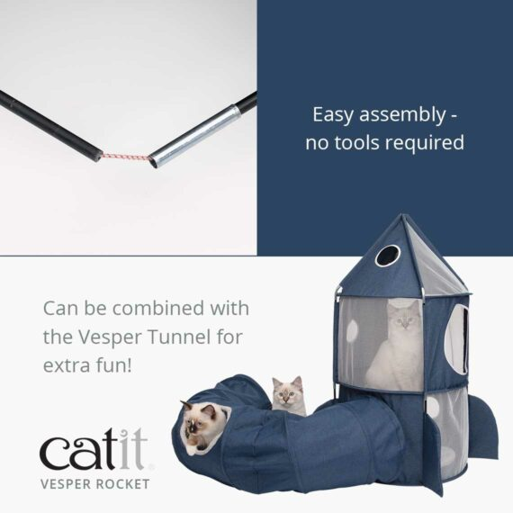 Catit Vesper Rocket is easy to assemble with no tools required. It can be combined with the Vesper Tunnel for extra fun!