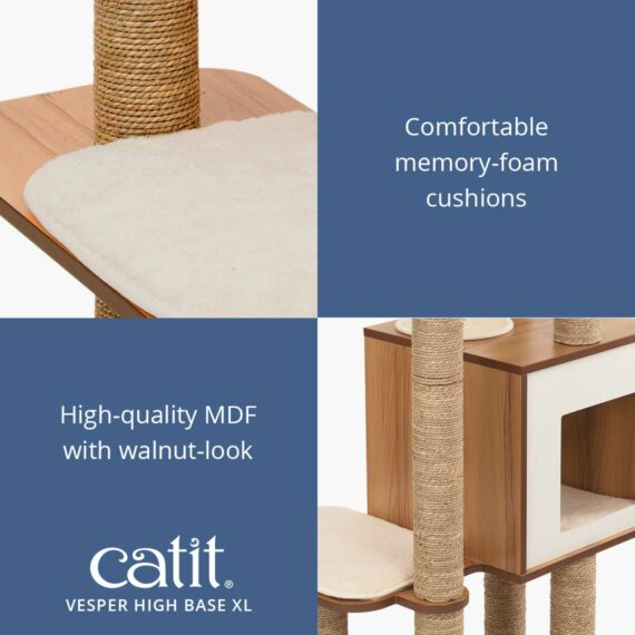 Catit Vesper High Base XL has comfortable memory-foam cushions and high-quality MDF with walnut-look
