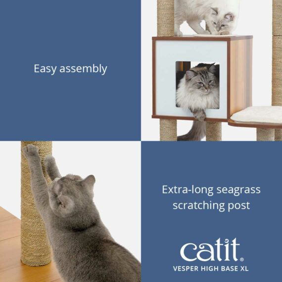 Catit Vesper High Base XL is easy to assemble and has an extra-long seagrass scratching post