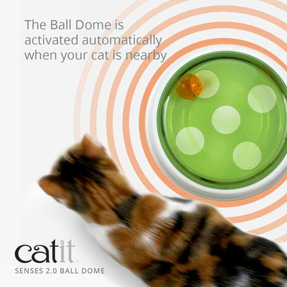 Catit Senses 2.0 Ball Dome is activated automatically when your cat is nearby