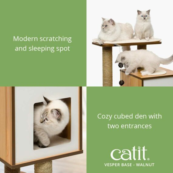 Catit Vesper Base is modern scratching and sleeping spot and a cozy cubed den with two entrances
