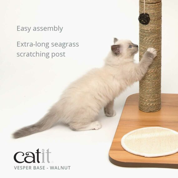 Catit Vesper Base is easy to assemble and has an extra-long seagrass scratching post