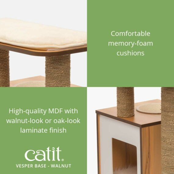 Catit Vesper Base has comfortable memory-foam cushions and high-quality MDF with walnut-look or oak-look laminate finish