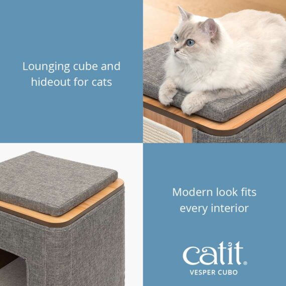 Catit Vesper Cubo is a lounging cube and hideout for cats with a modern look that fits every interior
