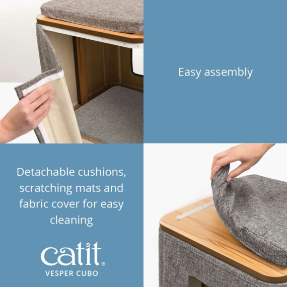Catit Vesper Cubo is easy to assemble with detachable cushions, scratching mats and fabric for easy cleaning