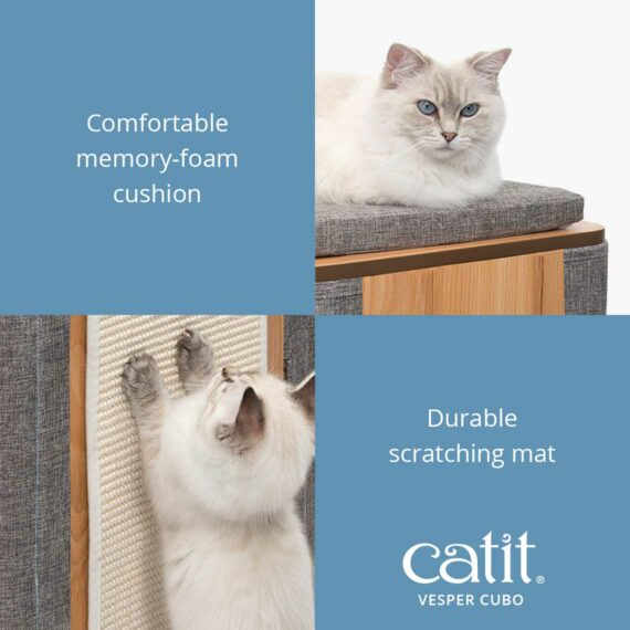 Catit Vesper Cubo has a comfortable memory-foam cushion with a durable scratching mat