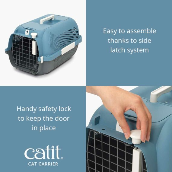 Catit Cat Carrier is easy to assemble thanks to side latch system and a handy safety lock to keep the door in place