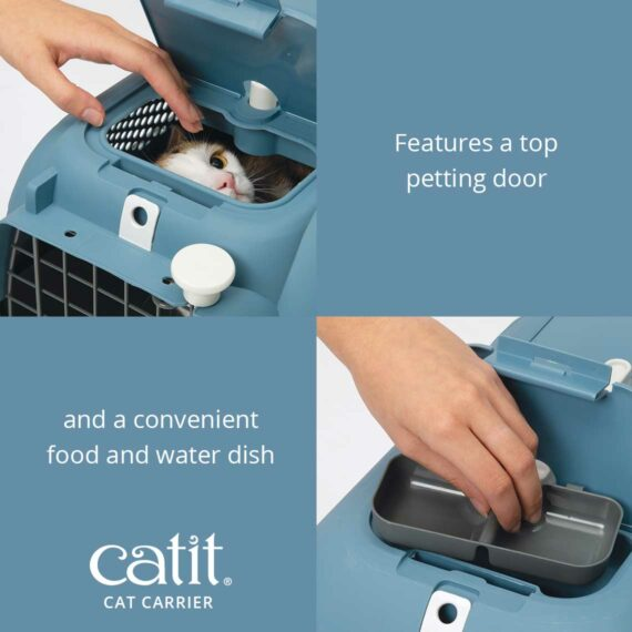 Catit Cat Carrier features a top petting door and a convenient food and water dish