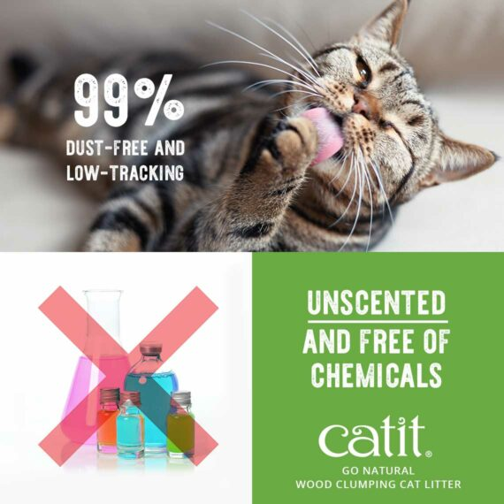 Go Natural Wood Clumping Cat Litter - 99% dust-free and low-tracking, unscented and free of chemicals