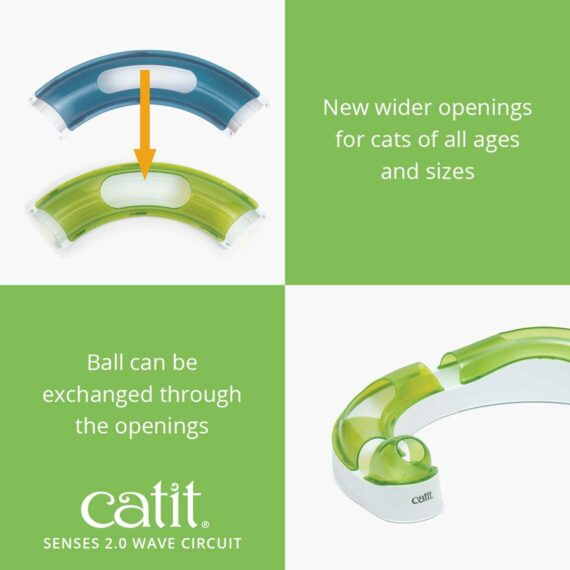 Senses 2.0 Wave Circuit - New wider openings for cats of all ages and sizes - Ball can be exchanged through the openings
